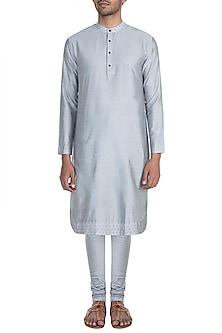 Silver Grey Embroidered Kurta Set by Mayank Modi