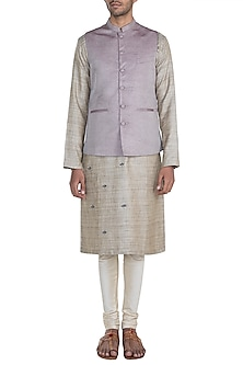 Light Mauve Jacquard Nehru Jacket by Mayank Modi