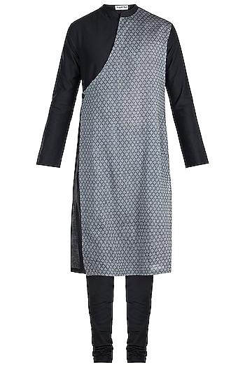 Black & Grey Overlap Angrakha Kurta by Mayank Modi