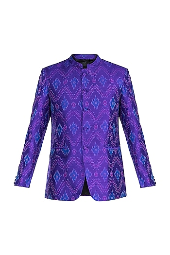 Purple Ikat Woven Bandhgala Jacket by Mayank Modi