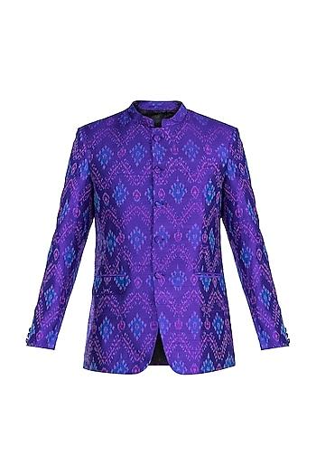 Purple Ikat Woven Bandhgala Jacket by Mayank Modi