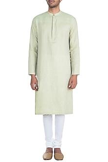 Green & Yellow Linen Kurta Set by Mayank Modi