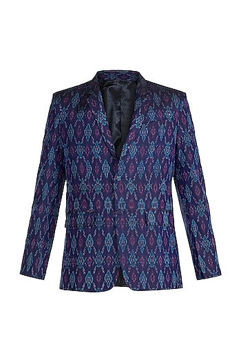 Purple & Blue Ikat Woven Blazer by Mayank Modi