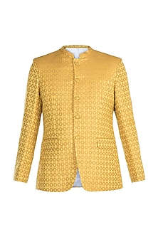 Yellow Jacquard Bandhgala Jacket by Mayank Modi