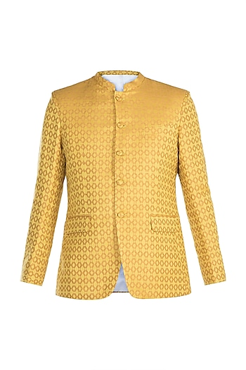 Yellow Jacquard Bandhgala Jacket by Mayank Modi