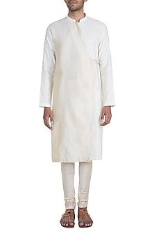 Cream Jacquard Kurta Set by Mayank Modi