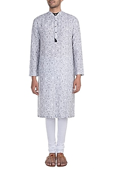 White & Black Printed Kurta Set by Mayank Modi