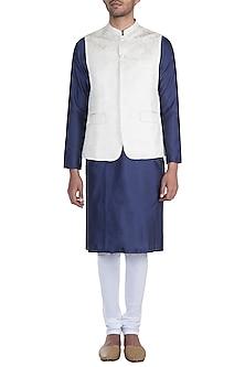 Cream Jacquard Nehru Jacket by Mayank Modi