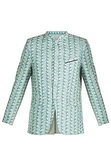 Aqua Green Jacquard Bandhgala Jacket by Mayank Modi