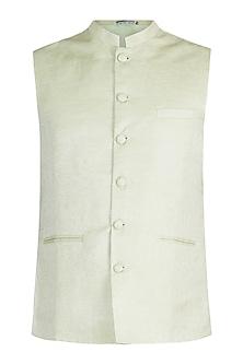 Pastel green Jacquard Nehru Jacket by Mayank Modi