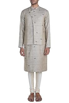 Brown Hand Embroidered Jute Nehru Jacket by Mayank Modi