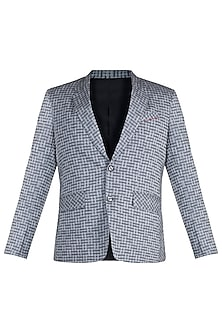 Grey Checkered Blazer by Mayank Modi