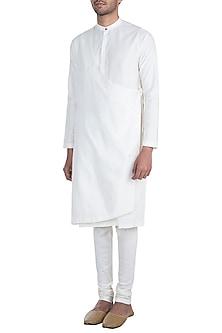 Ivory Angrakha Kurta Set by Mayank Modi