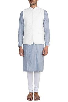 Ivory Quilted Nehru Jacket by Mayank Modi