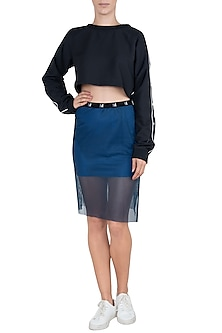Blue slit skirt by Myriad