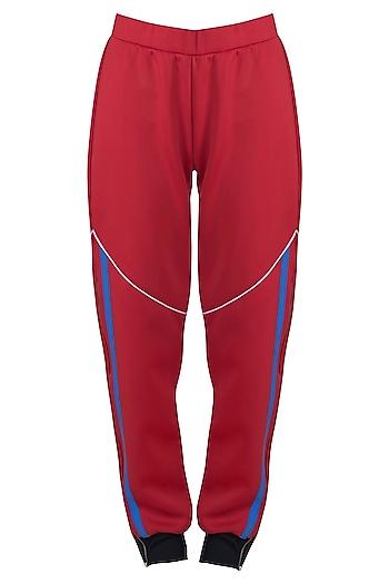 Red wide leg cut pants by Myriad