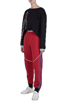 Red wide leg cut pants by Myriad