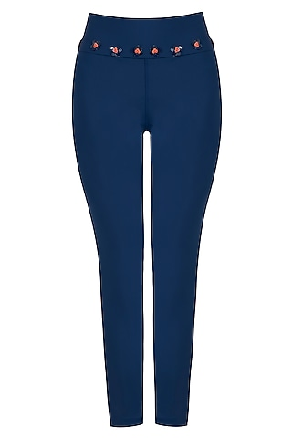 Blue embroidered leggings pants by Myriad