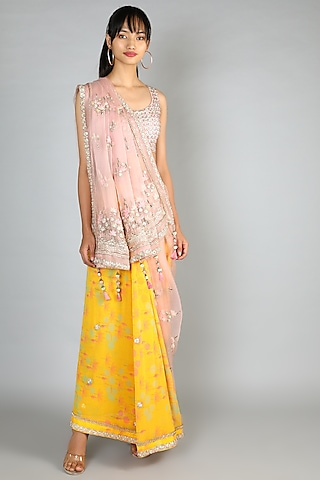 Yellow & Pink Embroidered Saree Set by Madsam Tinzin