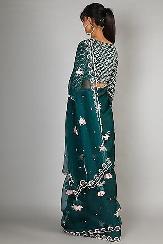 Emerald Green Embroidered Saree Set by Madsam Tinzin