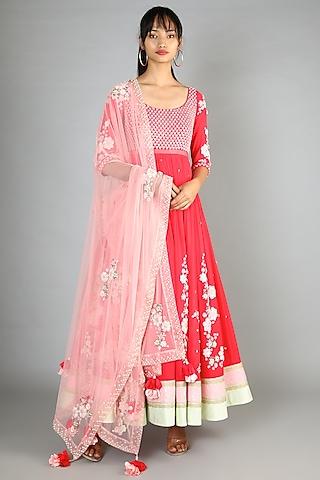 Red Embroidered Anarkali Set by Madsam Tinzin