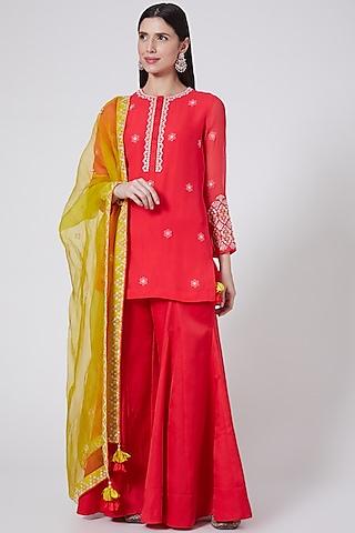 Red Georgette Silk Sharara Set by Madsam Tinzin