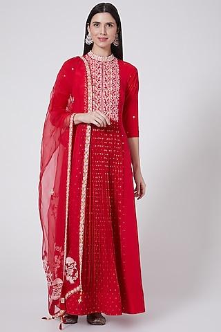 Red Silk Anarkali With Dupatta by Madsam Tinzin