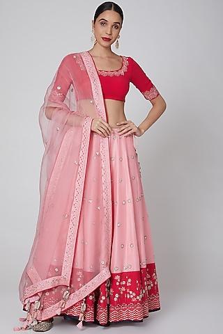 Blush Pink Embroidered Lehenga Set by Madsam Tinzin