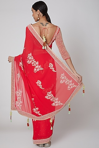 Red Embroidered Saree Set by Madsam Tinzin