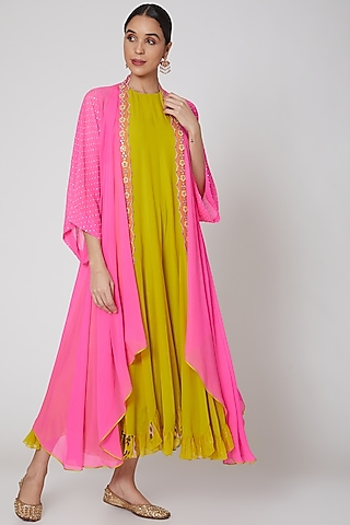 Yellow & Fuchsia Jumpsuit With Cape by Madsam Tinzin
