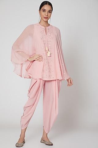 Blush Pink Embroidered Short Kurta Set by Madsam Tinzin