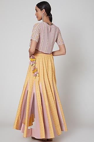 Mauve & Yellow Embroidered Lehenga Set by Madsam Tinzin
