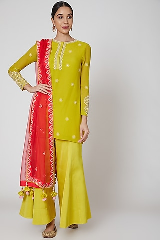 Olive Green & Red Embroidered Sharara Set by Madsam Tinzin