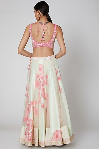 Mint & Blush Pink Embroidered Lehenga Set by Madsam Tinzin