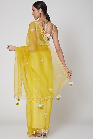 Yellow & Mint Embroidered Saree Set by Madsam Tinzin