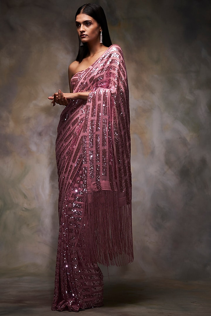 Metallic Pink Embroidered Saree Set by Seema Gujral