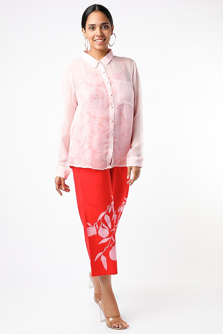 Candy Red Digital Printed Pant Set by Naav by Avneet