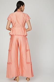 Coral Embroidered Pant Set by Naffs