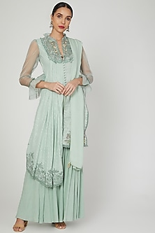 Misty Jade Asymmetric Embroidered Kurta Set by Naffs