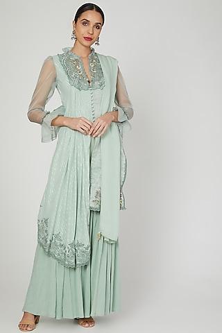 Misty Jade Asymmetric Embroidered Kurta Set by Naffs
