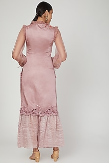 Mellon Mauve Embroidered Kurta Set by Naffs