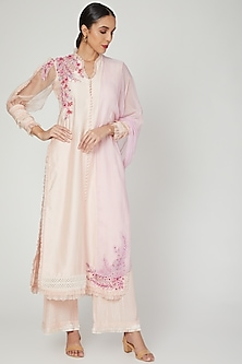 Peony Pink Embroidered Kurta Set by Naffs