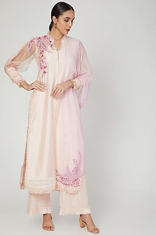 Peony Pink Embroidered Kurta Set by Naffs