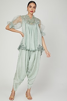 Misty Jade Embroidered Kurta Set by Naffs