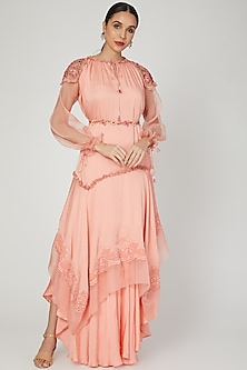 Coral Embroidered Kurta Set by Naffs