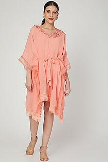 Coral Embroidered Kaftan With Slip & Belt by Naffs