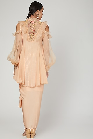 Apricot Embroidered Skirt Set by Naffs