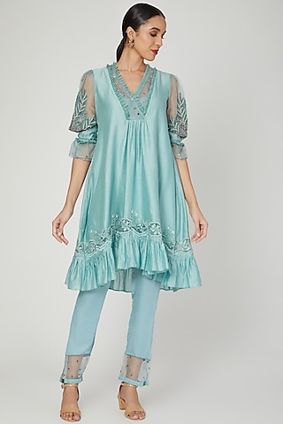 Ether Blue High-Low Tunic Set by Naffs