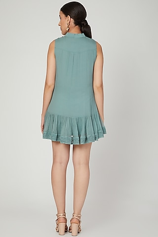 Ether Blue Embroidered Mini Dress by Naffs