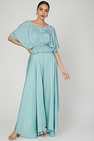 Ether Blue Kaftan With Pants by Naffs